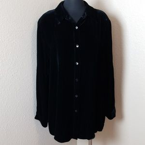 Soft Surroundings Black Velour Button Down Shirt